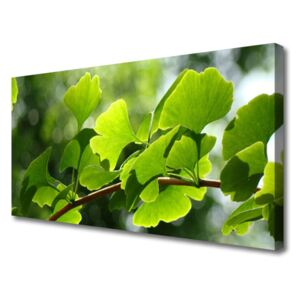 Canvas Wall art Branch leaves floral brown green 100x50 cm