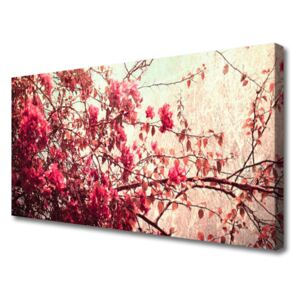 Canvas Wall art Branches leaves nature brown orange 100x50 cm