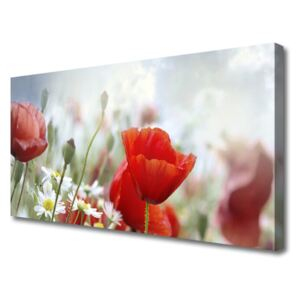 Canvas Wall art Flowers floral red yellow white 100x50 cm