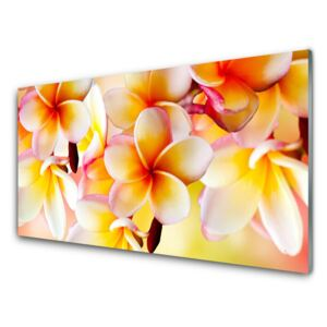 Glass Wall Art Flowers floral red green white 100x50 cm
