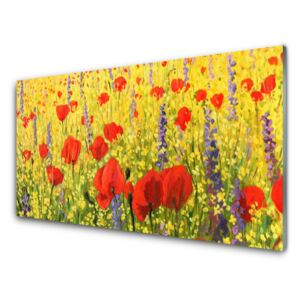 Glass Wall Art Flowers floral red purple 100x50 cm