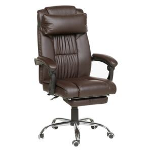 Executive Office Chair Brown Faux Leather Gas Lift Height Adjustable Reclining Function with Footrest and Headrest Padded Armrests Beliani
