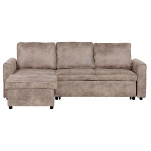 Corner Sofa Bed Brown Faux Leather Upholstered Right Hand Orientation with Storage Bed Beliani