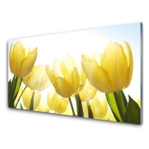 Glass Wall Art Tulips floral yellow 100x50 cm