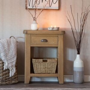 Wessex Smoked Oak Telephone Table with Wicker Basket