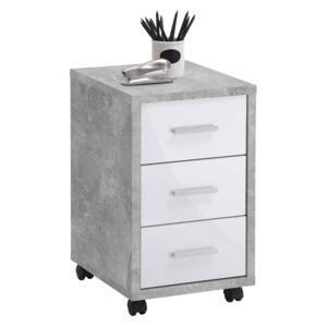 FMD Mobile Drawer Cabinet Concrete High Gloss White