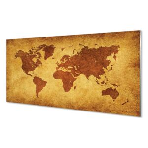Glass print The old brown map 100x50 cm