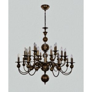 Large 30-arm Dutch chandelier made of manually molded brass parts ANTIK