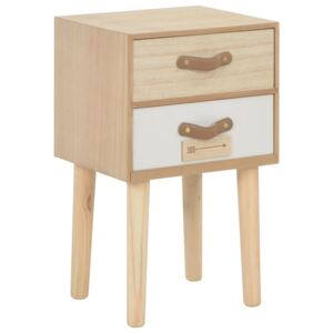 VidaXL Bedside Cabinet with 2 Drawers 30x25x49.5 cm Solid Pinewood