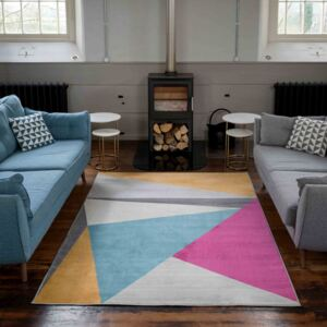 Colourful Pastel Abstract Large Living Room Rugs   Oscar
