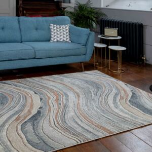 Soft Modern Blue Natural Waves Living Room Rugs   Riviera