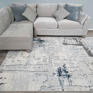 Modern Blue Abstract Distressed Living Room Rugs | Hatton