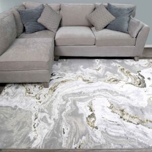 Gold Abstract Marble Pattern Living Room Rugs | Hatton
