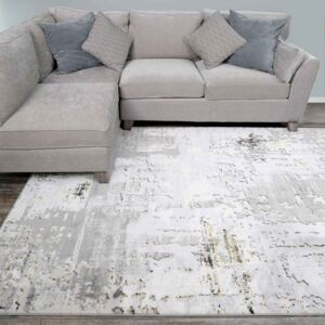 Modern Gold Abstract Distressed Living Room Rugs | Hatton