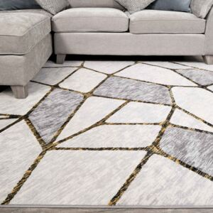 Modern Gold Abstract Mosaic Living Room Rugs | Hatton