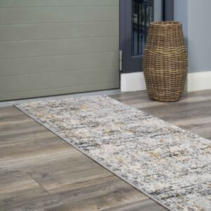 Modern Abstract Distressed Hall Runner Rugs in Gold Grey | Hatton