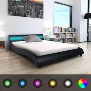 VidaXL Bed Frame with LED 5FT King Size/150x200 cm Artificial Leather