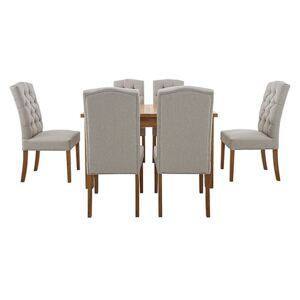 California Solid Oak Rectangular Extending Table and 6 Button Back Upholstered Chairs