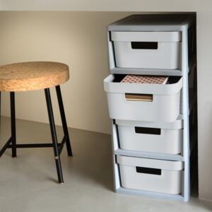 Rack with 4 drawers Infinity 30 x 36 x 69 cm gray-white CURVER