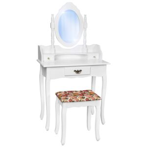 Tectake 400787 antique dressing table with mirror and stool - white