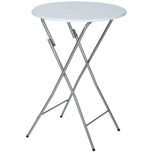 Tectake 400866 bar table made of steel foldable - white