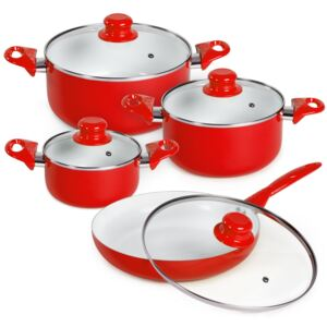 Tectake 401194 pots and pans set made of aluminium with ceramic coating - red