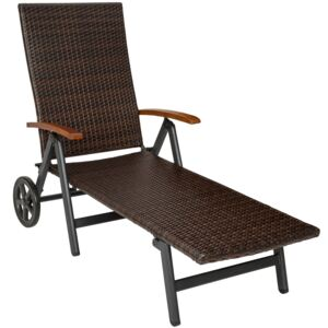 Tectake 402219 sun lounger with armrests auckland - brown