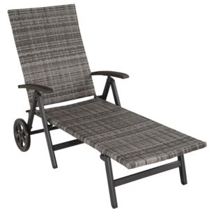 Tectake 403219 sun lounger with armrests auckland - grey
