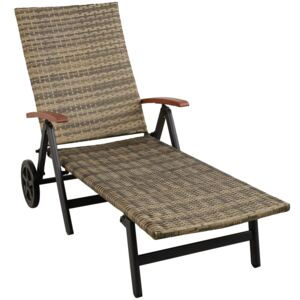 Tectake 403747 sun lounger with armrests auckland - nature