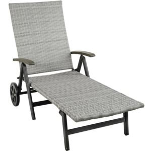 Tectake 403746 sun lounger with armrests auckland - light grey