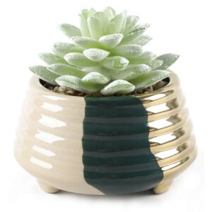 Small Potted Plant - Gold & Teal