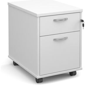 Mobile 2 Drawer Pedestal With Silver Handles 600mm Deep