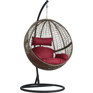 Tectake 401776 hanging chair with round frame rattan - brown