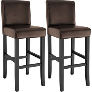 Tectake 403512 2 breakfast bar stools made of artificial leather - brown