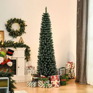HOMCOM 6.5FT Artificial Snow Dipped Christmas Tree Xmas Pencil Tree Holiday Home Indoor Decoration with Foldable Black Stand, Green