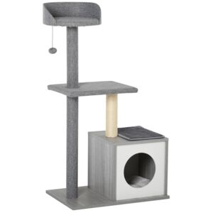 PawHut Cats Particle Board 3-Tier Scratching Tree House Grey