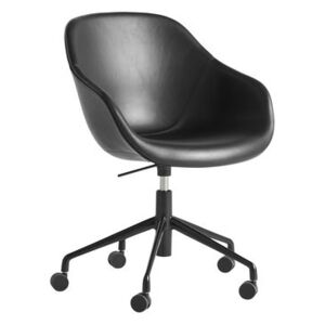 About a chair AAC153 Armchair on casters - / Padded - High backrest - Full leather by Hay Black