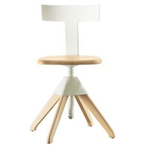 Tuffy Swivel chair - Wood & plastic / Adjustable height by Magis White/Natural wood