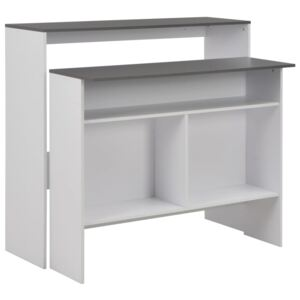 VidaXL Bar Table with 2 Table Tops White and Grey 130x40x120 cm