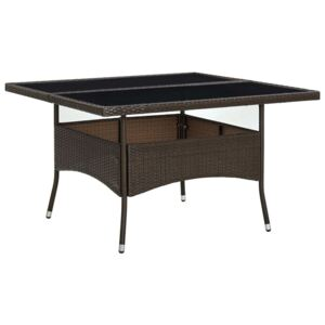 VidaXL Outdoor Dining Table Brown Poly Rattan and Glass