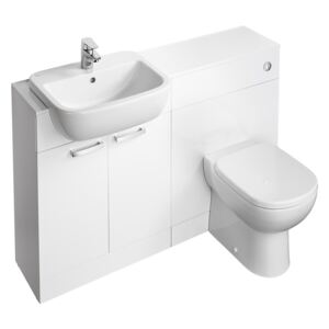 Ideal Standard Tempo Back To Wall Toilet and Semi-Countertop Basin Furniture Pack - Gloss White