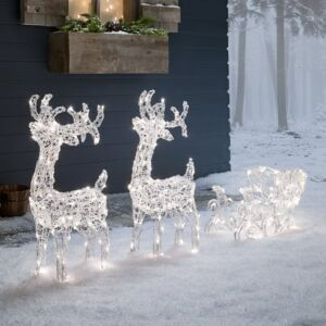 Warm White & White 3-in1 Acrylic Light Up Reindeer & Sleigh Christmas Figure