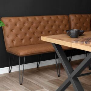 Industrial Tan 140cm Studded Back Bench
