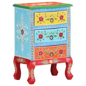 Hand Painted Bedside Cabinet 40x30x60 cm Solid Mango Wood