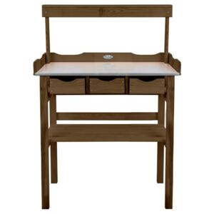 Esschert Design Potting Table with Drawer and Rack Brown
