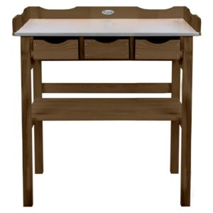 Esschert Design Potting Table with Drawers Brown