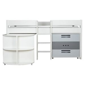 Stompa - Nexus Mid-Sleeper with Desk and 3 Drawer Chest - White