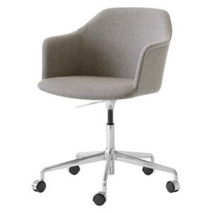 Rely HW55 Armchair on casters - / Fabric - Swivel & adjustable height by &tradition Brown/Beige